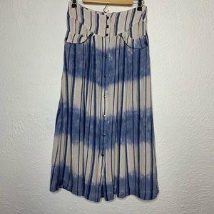 Free People Linen Stripe Button Front Midi Skirt 4